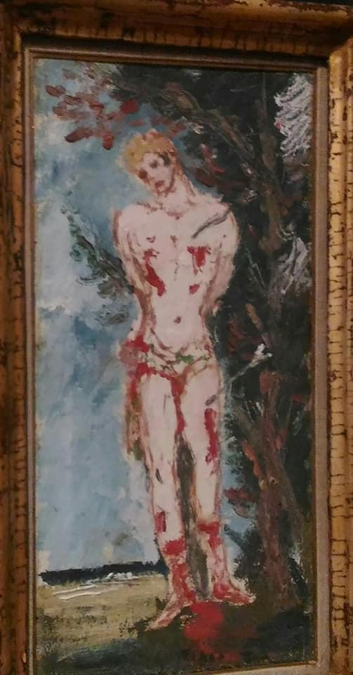 e1fb581857d9 C'è un fortissimo contrasto tra lo sfondo idilliaco e la sofferenza fisica  del santo, le cui piaghe aperte nutrono la terra scura.